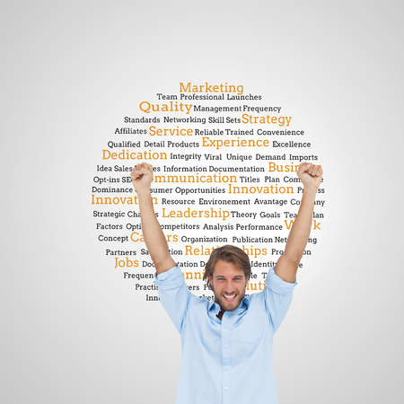 Composite image of happy man celebrating success with arms up on white background photo