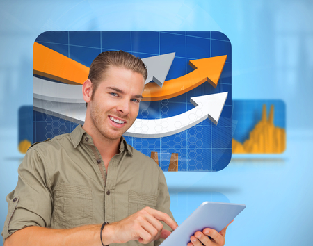 Composite image of happy man using tablet pc on white background photo