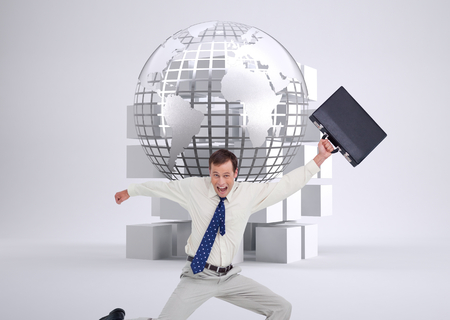 chrome man: Composite image of cheerful jumping businessman with his suitcase against a white background