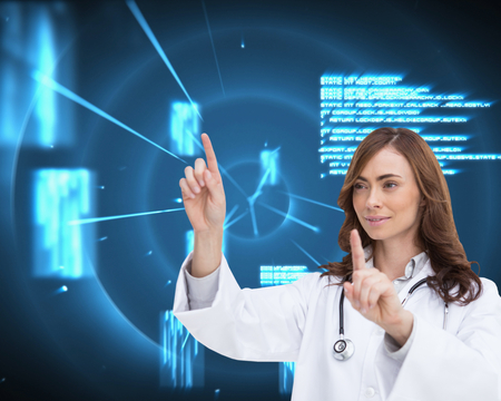 Composite image of happy brunette doctor pointing photo