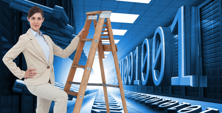 Composite image of smiling businesswoman climbing the career ladder photo
