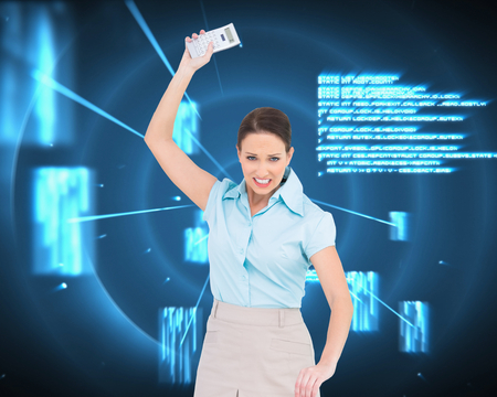 Composite image of furious classy businesswoman throwing her calculator photo