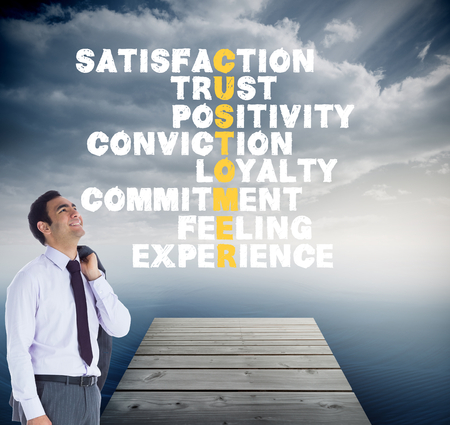 positivity: Composite image of smiling businessman standing