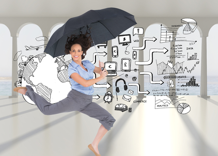 Composite image of happy classy businesswoman on white background jumping while holding umbrella photo