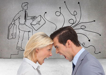 Composite image of colleagues quarreling head against head on white background photo