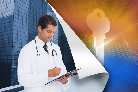 Composite image of smiling doctor holding pen and clipboard on a white background  Stock Photo