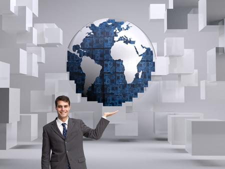 Composite image of happy attractive businessman presenting photo