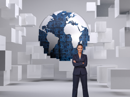 Composite image of isolated confident businesswoman smiling at the camera agaisnt white photo