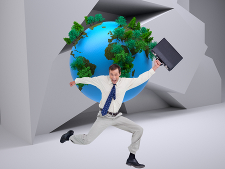 Composite image of cheerful jumping businessman with his suitcase against a white background photo