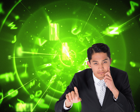 composite image: Composite image of thoughtful asian businessman pointing