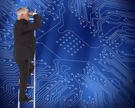 proportionate: Composite image of mature businessman standing on ladder watching Stock Photo