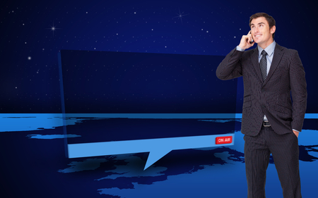Composite image of happy attractive businessman phoning