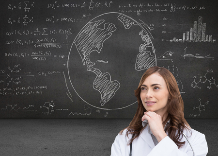 inquiring: Composite image of thoughtful brunette doctor looking away