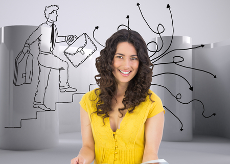 Composite image of cheerful curly haired brunette reading magazine photo