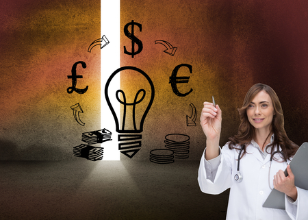 Composite image of smiling brunette doctor pointing Stock Photo - 26781144