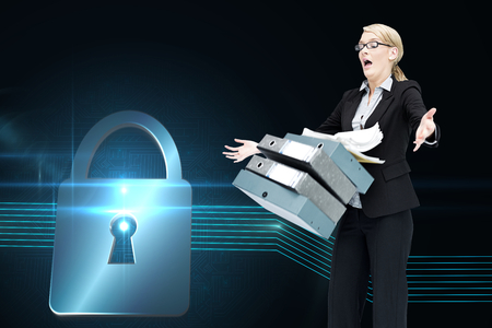 woman looking down: Composite image of businesswoman dropping many folders on white background