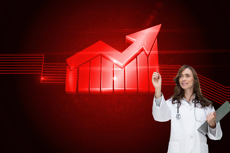 light brown hair: Composite image of smiling brunette doctor pointing