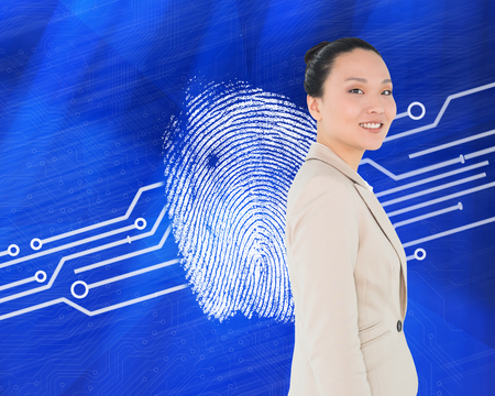 proportionate: Composite image of smiling asian businesswoman Stock Photo