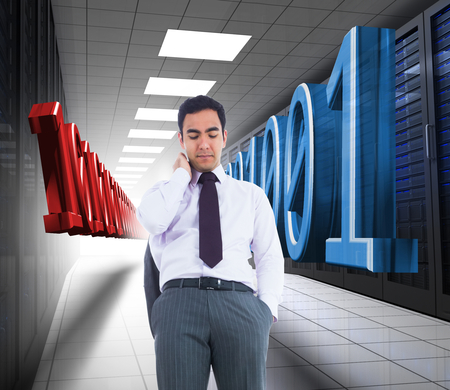 data storage: Composite image of unsmiling businessman standing