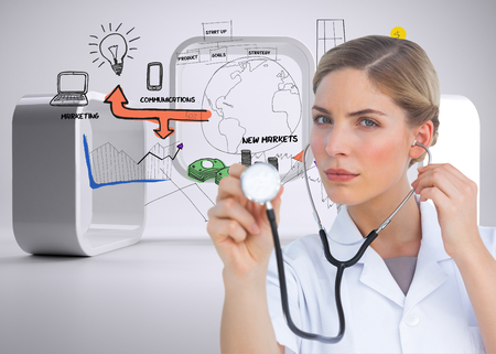 Composite image of serious nurse listening with stethoscope and looking at the camera photo