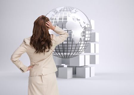 Composite image of businesswoman standing back to camera with hand on head photo