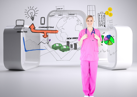 Composite image of confident young female surgeon holding a stethoscope photo