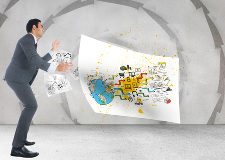 Composite image of unsmiling businessman catching photo