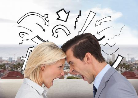 business disagreement: Composite image of colleagues quarreling head against head