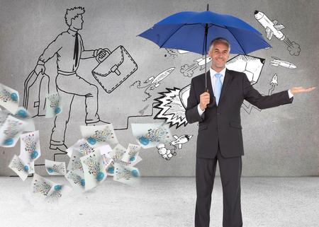 Composite image of peaceful businessman holding blue umbrella photo