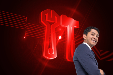 hair setting: Composite image of smiling asian businessman with arms crossed