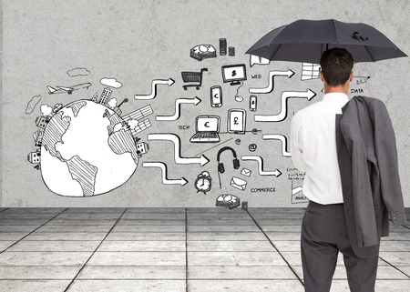 Composite image of businessman standing back to camera holding umbrella and jacket on shoulder photo