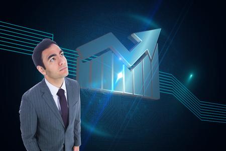 unsmiling: Composite image of unsmiling businessman standing