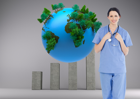 tree world tree service: Composite image of young and confident medical intern wearing a blue short-sleeve uniform