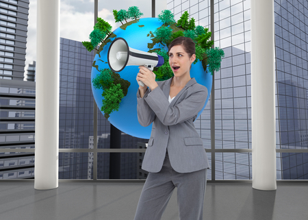 Composite image of businesswoman with loudspeaker photo