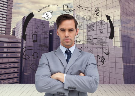 Composite image of young businessman looking at camera photo