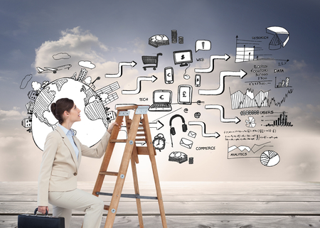 Composite image of businesswoman climbing career ladder with briefcase photo