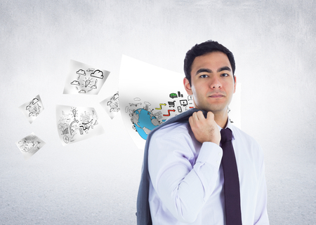 Composite image of unsmiling businessman standing photo