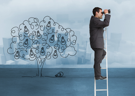 Composite image of businessman standing on ladder holding binoculars photo