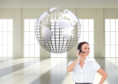 Composite image of cheerful smart call center agent working while posing photo