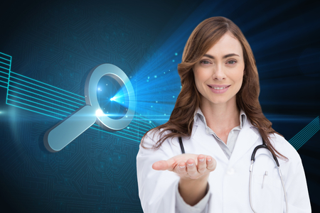 Composite image of portrait of female nurse holding out open palm photo