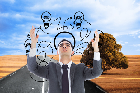jumbled: Composite image of unsmiling businessman with arms raised