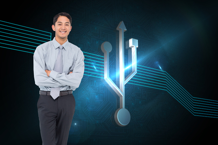light brown hair: Composite image of smiling asian businessman