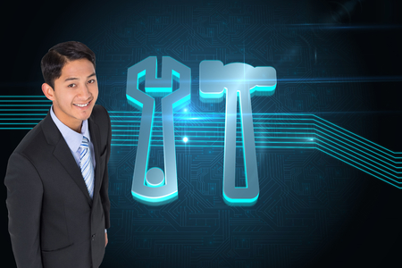 hair setting: Composite image of smiling asian businessman