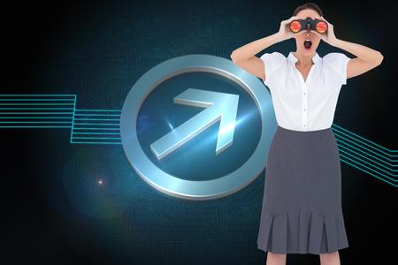 Composite image of shocked elegant businesswoman looking through binoculars while posing photo