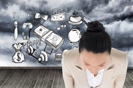 cash cycle: Composite image of unsmiling asian businesswoman Stock Photo