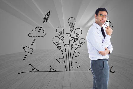 composite image: Composite image of thinking businessman holding glasses Stock Photo