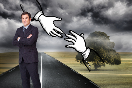 Composite image of young attractive businessman standing cross-armed photo