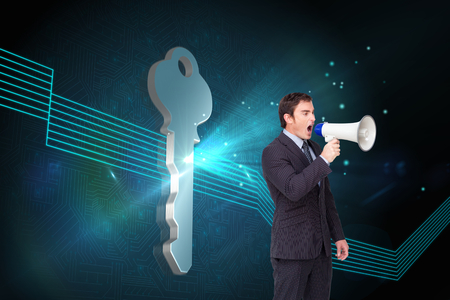 Composite image of standing businessman shouting through a megaphone agaisnt white photo
