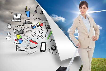 Composite image of businesswoman with suitcase photo