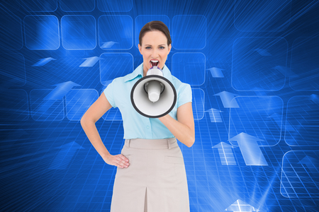 Composite image of furious classy businesswoman talking in megaphone while posing photo